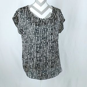 lush Print Blouse Black Cream